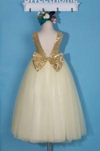 Ivory flower girl dress/Gold sequin girl dress/tulle flower