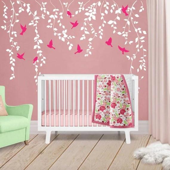 Vine Wall Decal for Baby Girl Nursery Dcor Wall Vines