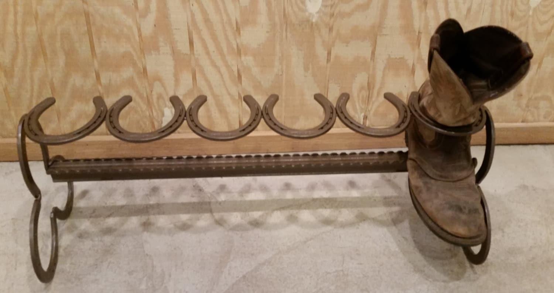 3 Pair Repurposed Horse Shoe Cowboy Boot Rack Holder