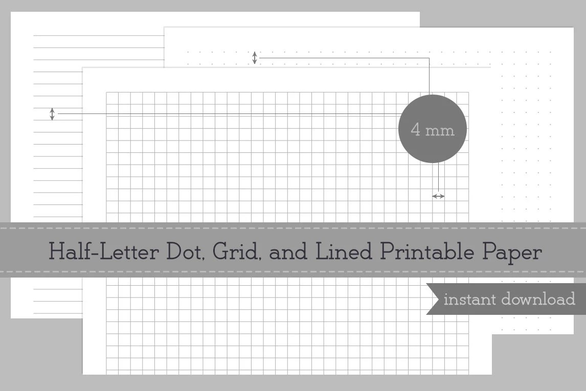 Half Letter Printable 4mm Dot Grid and Lined Paper Arc