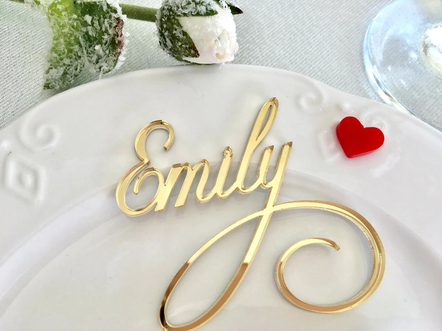Gold Mirror Laser Cut Names Gold Place Cards Personalised