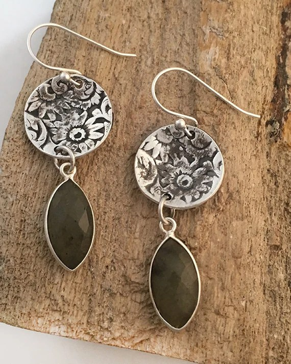 Silver Round Earrings for...