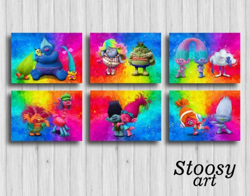 dreamworks trolls poster set of 6 trolls decorations trolls party favors gifts