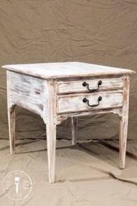 Farmhouse Antiqued White End Table