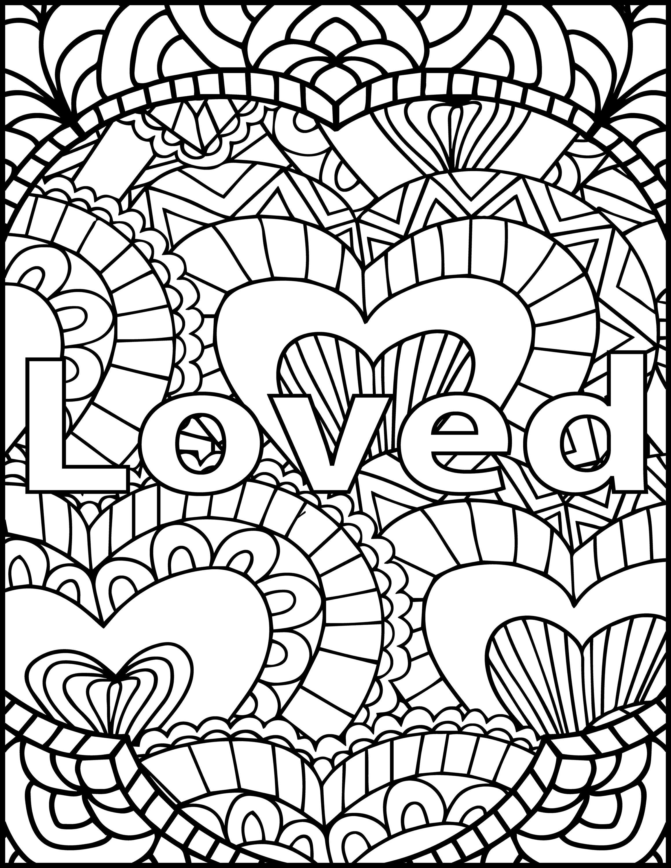 I Am Loved Adult Coloring Page Inspiring Message Coloring