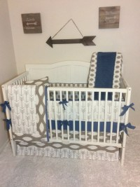 Baby Boy Crib Bedding Set Taupe and Denim Blue Arrows READY TO