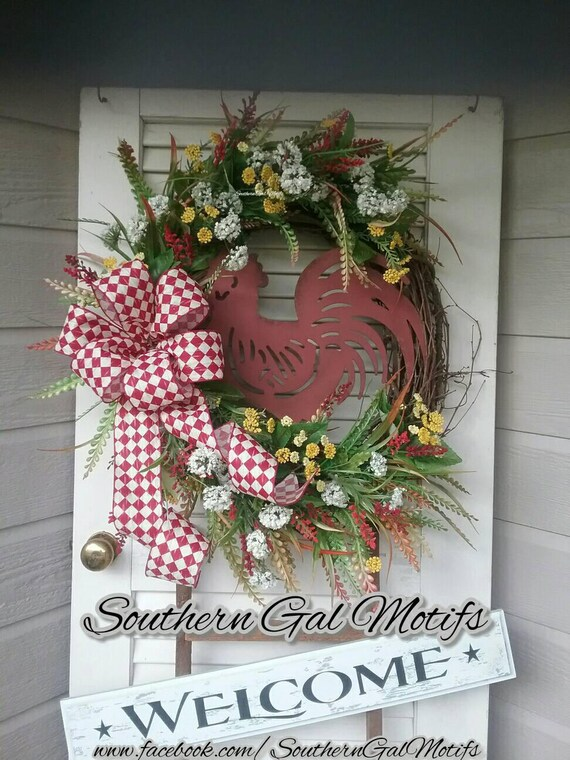 Farmhouse Wreath Rooster Wreath Rooster Grapevine Wreath