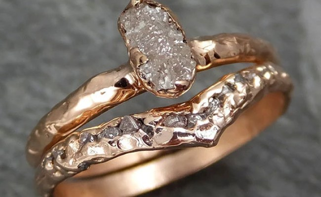 Raw Diamond Solitaire Engagement Ring Rough 14k Rose Gold