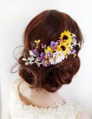 sunflower hair clip bridal