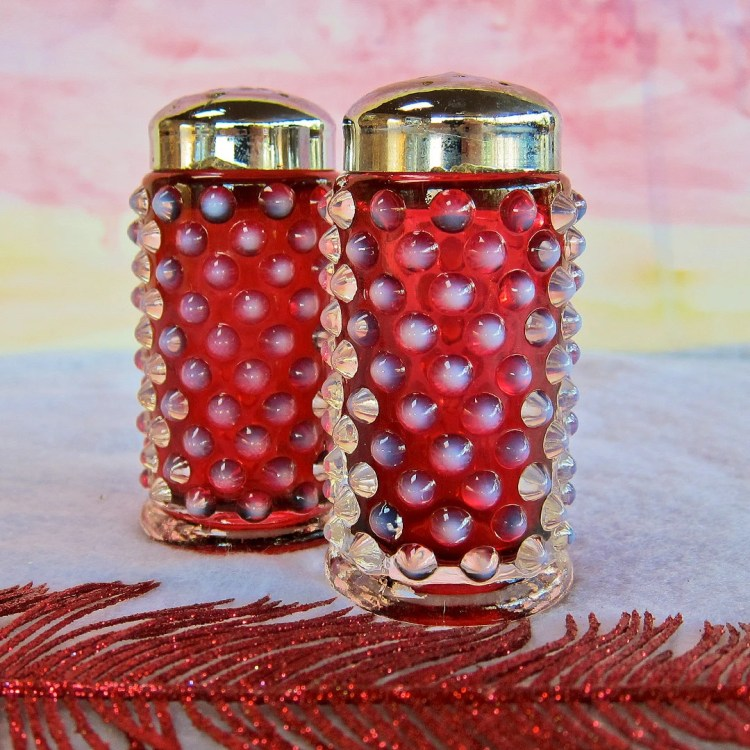 Fenton Art Glass, Cranberry/Plum Opalescent Hobnail Salt and Pepper Shakers 3806CR
