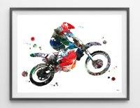 Dirt Bike Rider watercolor print sport art motocross poster