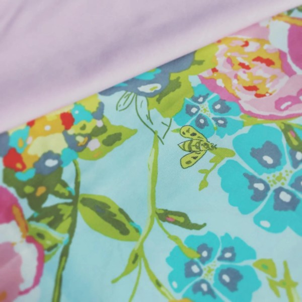 Art Fabrics - Bari Lilly Belle Garden Rocket Turquoise Fabric Lillybelle Floral