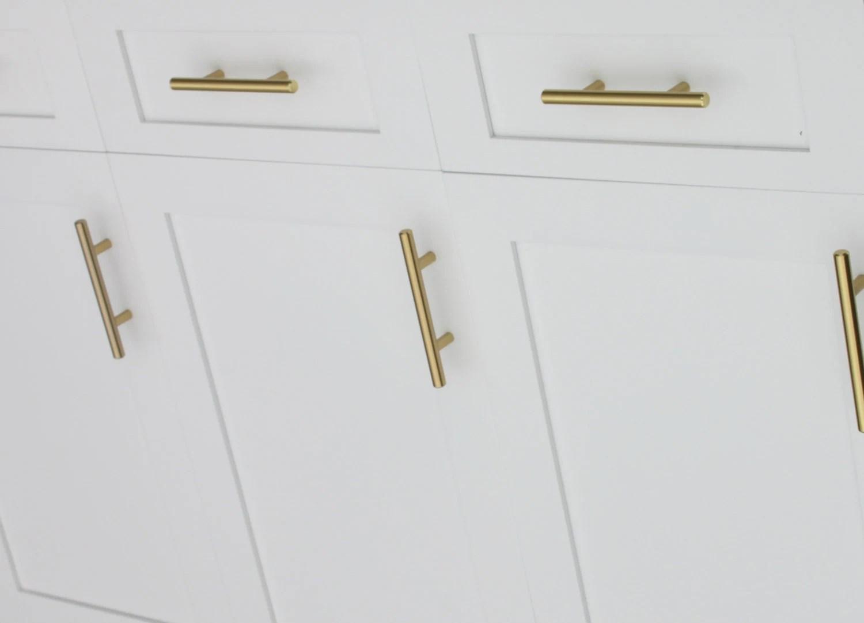 Satin Brass Cabinet Hardware Euro Style Bar Handle Pull