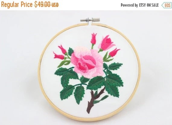 30% BLACK FRIDAY SALE embroidery hoop picture , hoop art , hand embroidered wall hanging with a pink rose
