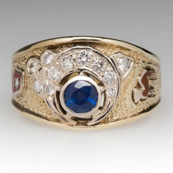 Vintage Mens Ring Masonic .81 Blue Sapphire