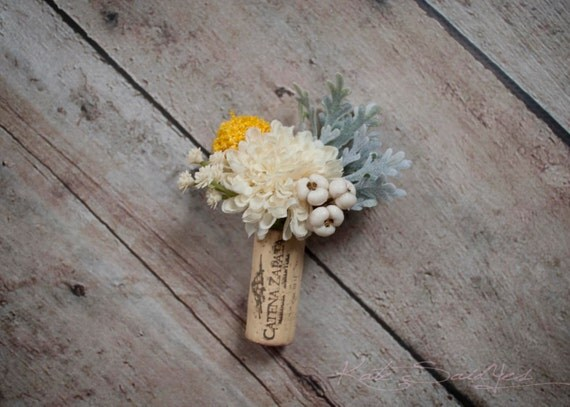 Wine Cork Boutonniere Ivory Pom And Craspedia Boutonniere