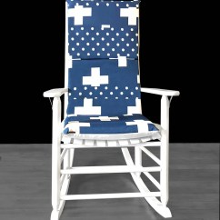 Navy Rocking Chair Plastic Andronik Chairs Blue Swiss Cross Cover Polka Dot