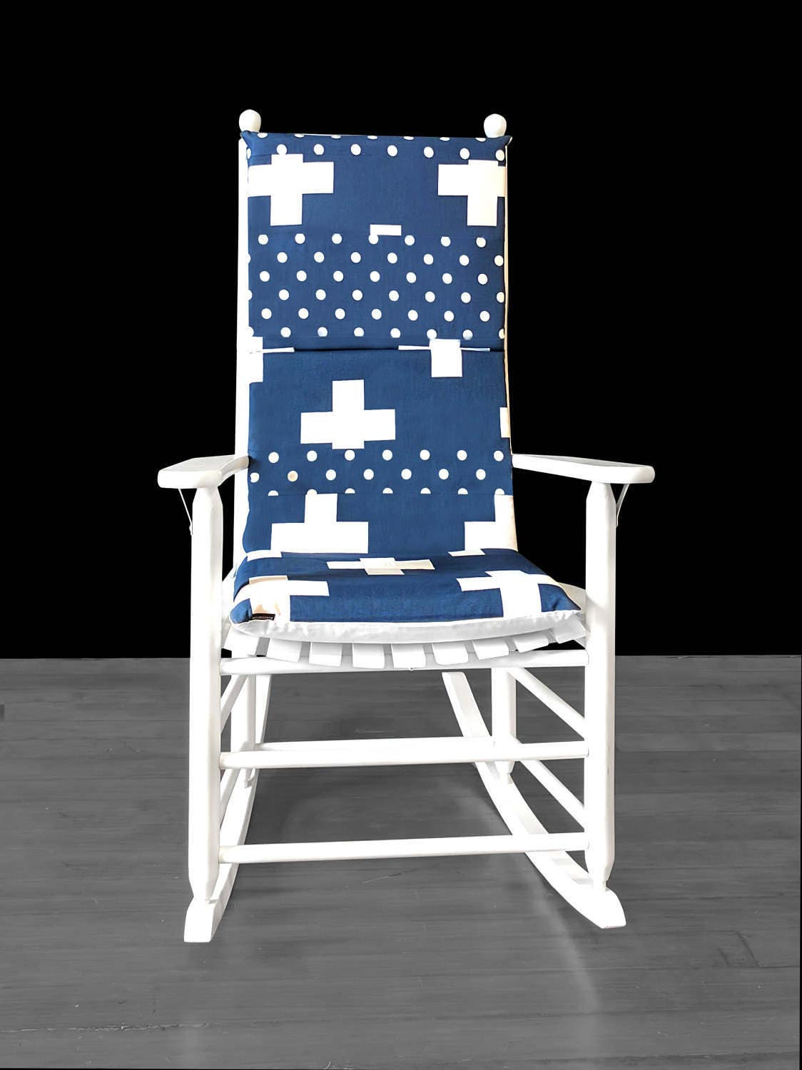 Navy Rocking Chair Navy Blue Swiss Cross Rocking Chair Cover Cross Polka Dot