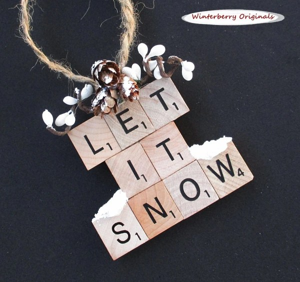 Scrabble Tile Ornament Snow Christmas