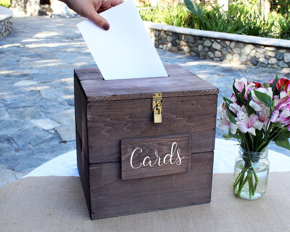 Rustic Wedding Card Box With Slot And Lock Wedding Card Holder