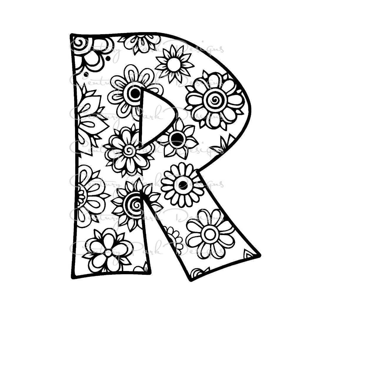 Letter R Alphabet Flowers SVG / JPEG / PNG /pdf / use with