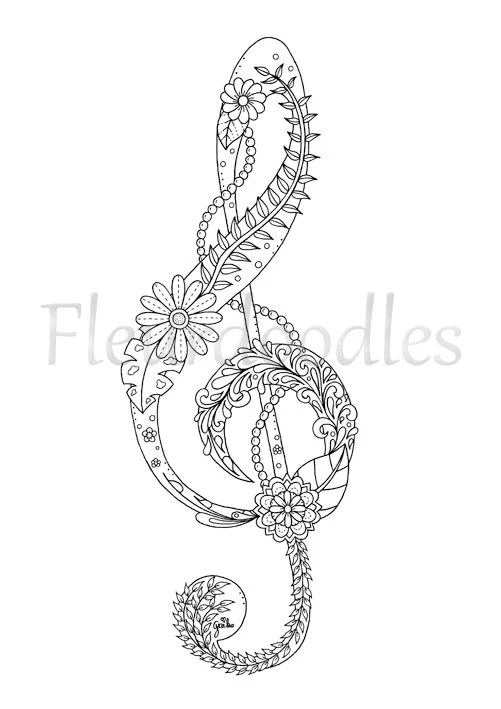 adult coloring page Treble Clef music colouring pages
