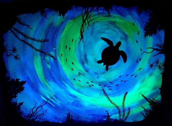 Sea Turtle Glow In Dark Art Ocean Painting