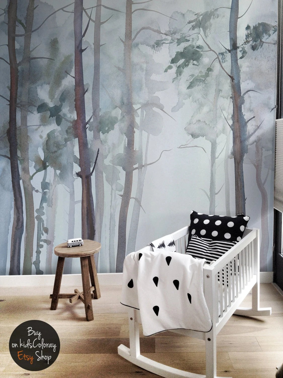 Nature Forest wall mural Peel and stick Gloomy Trees