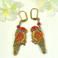 Red Gold Parrot Earrings Sunny and Star Beaded Parrot