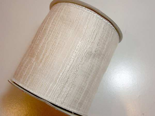 Ivory Ribbon Wired Fabric 4 Inches Wide X 10 Yards