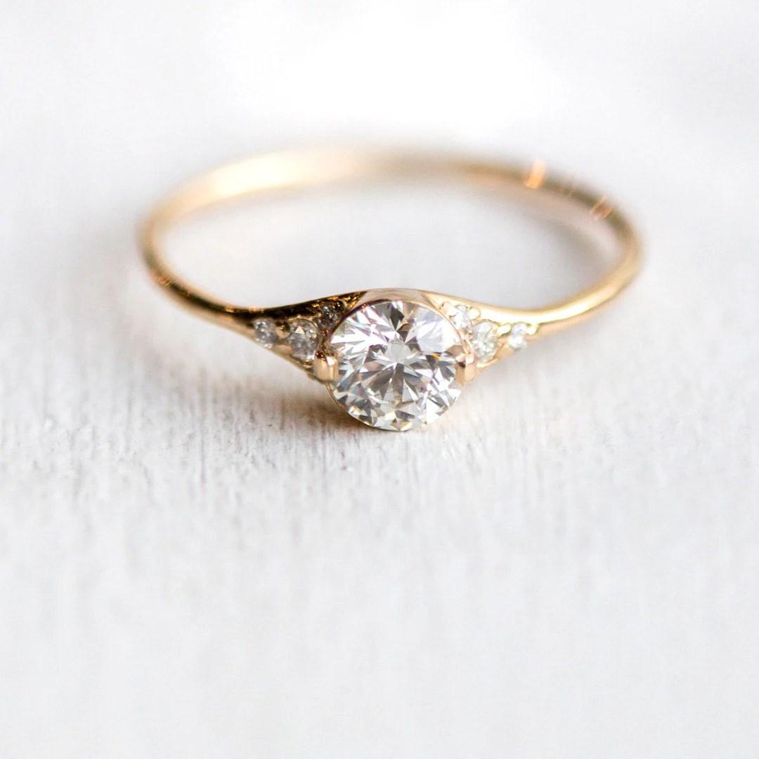 Lady's Slipper Diamond Engagement Ring  Delicate Diamond