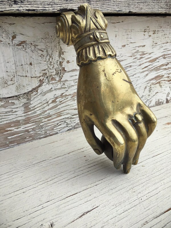 Antique Brass Hand Door Knocker And Ball Victorian
