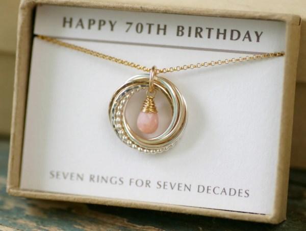 70th Birthday Mother Jewelry Grandma Pink