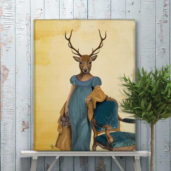 Canvas Art Prints Wall Deer In Blue