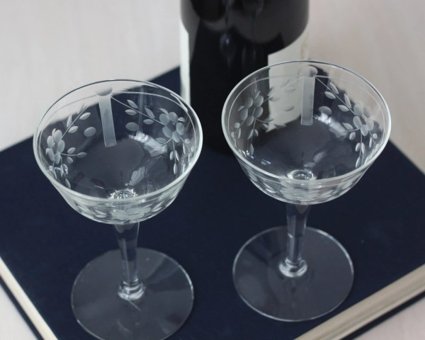 Vintage Etched Wine Glasses Glass Champagne Coupes