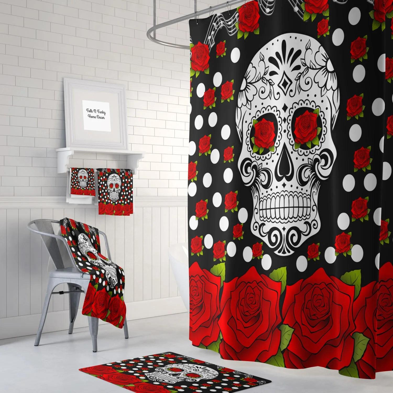 Sugar Skull Shower Curtain  Day Of The Dead  Red Roses  Bath Mat  Bath Towels  Sugar Skull