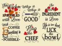 Kitchen cute quotes - machine embroidery designs - 4x4 ...