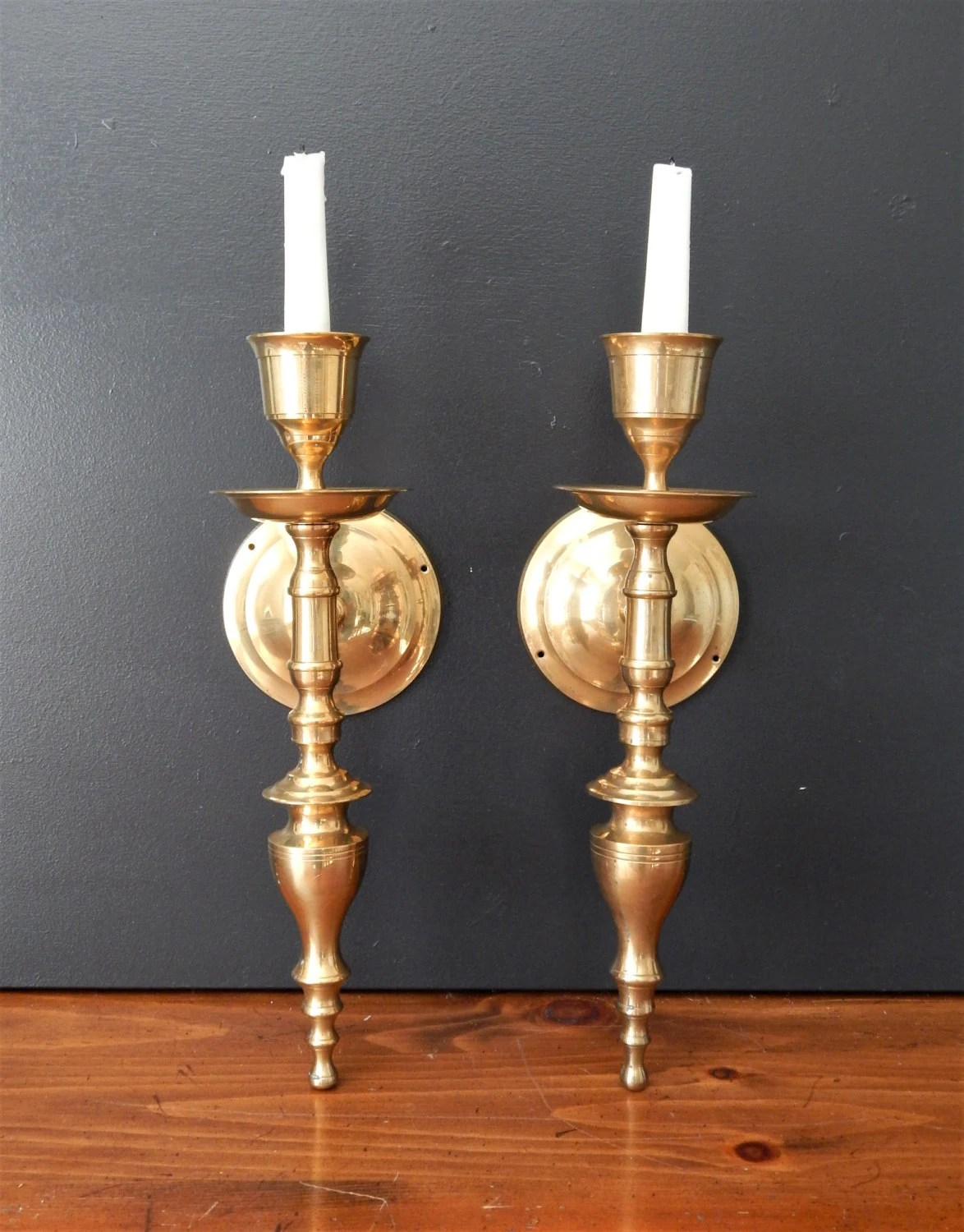 Large vintage brass candle sconces/Candle by