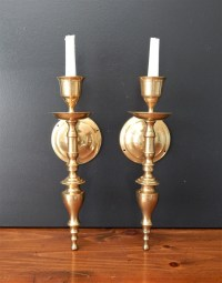 Large vintage brass candle sconces/Candle by ...