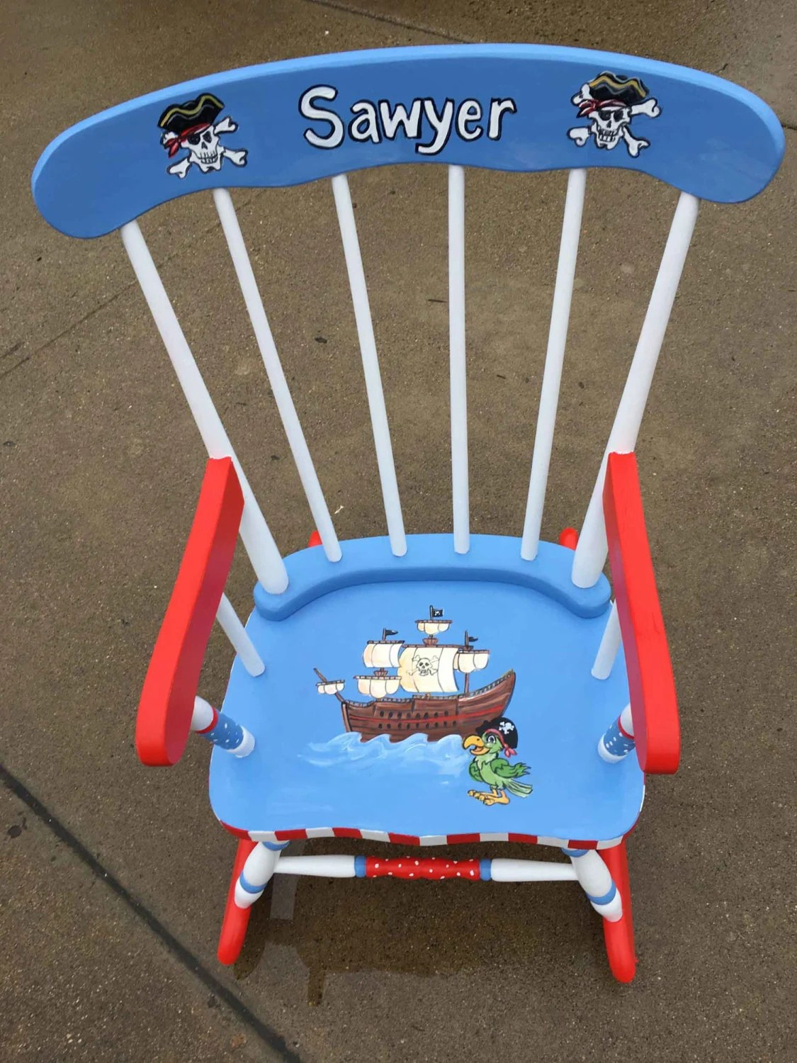 pirate rocking chair kids personalized rockers hand painted
