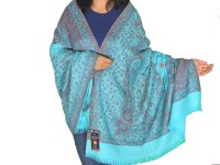 Electric Blue Embroidered Large Shawl 100% Wool Jamawar Cozy