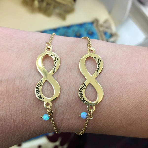 Set Of Two Gold Soul Sisters Infinity Bracelet-gold