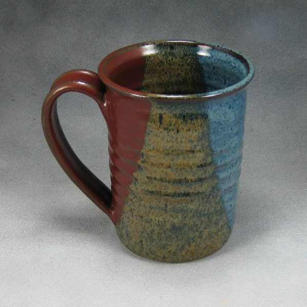 Coffee Mug One Red Blue and Yellow 16 Ounce Ceramic Coffee Mug