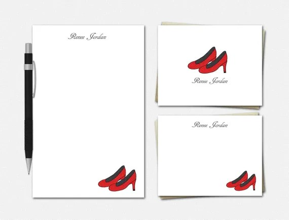 Red High Heels Stationery Set