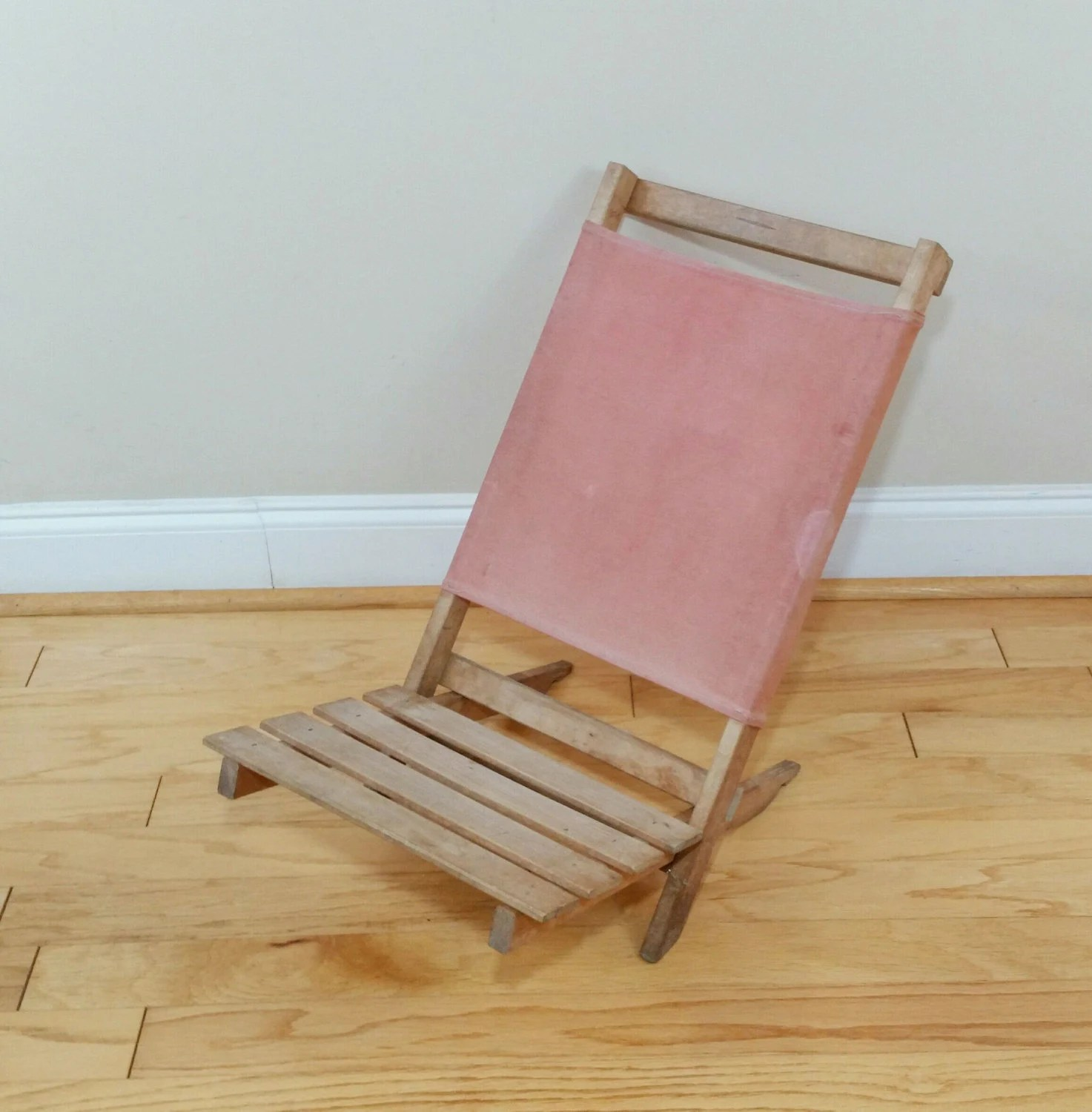 Folding Wood Beach Chair Vintage Wood And Canvas Folding Beach Chair