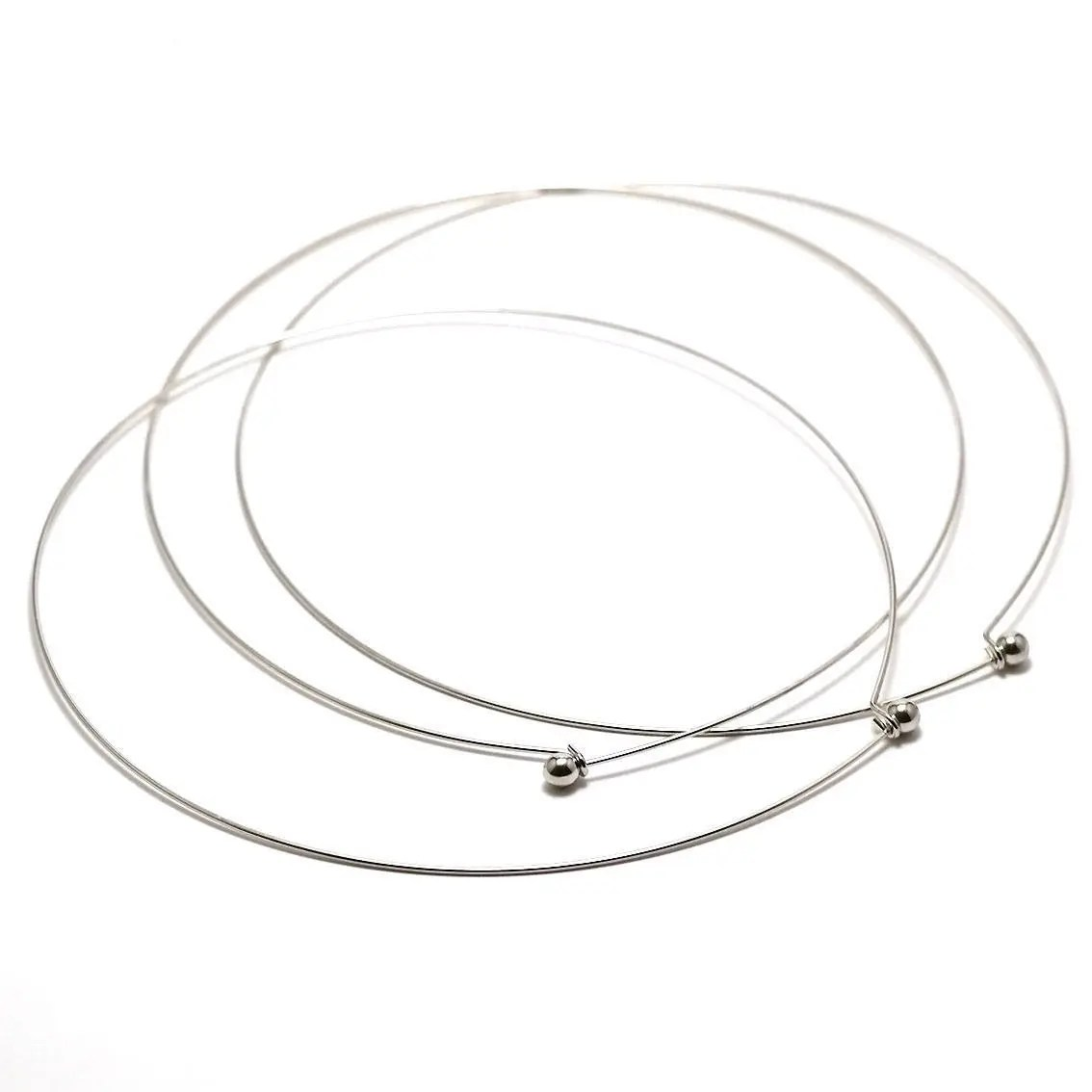 Silver color necklace, chaplet Wire circlet necklace, ball