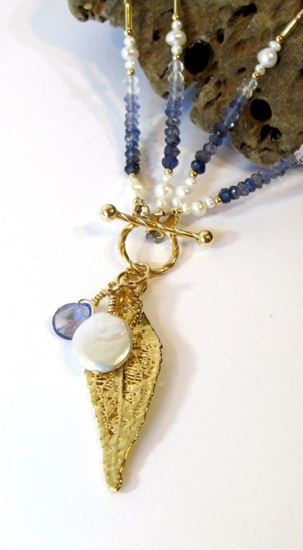 Gold And Iolite Necklace Handmade Beaded Toggle Clasp
