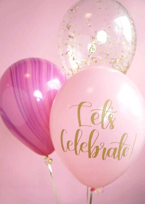 pink purple gold balloon trio confetti