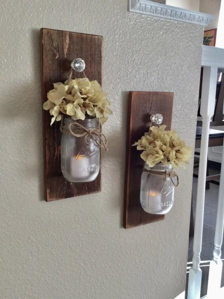 rustic mason jar wall decor Rustic Mason Jar Scone Set Wall Sconce Rustic Home Decor