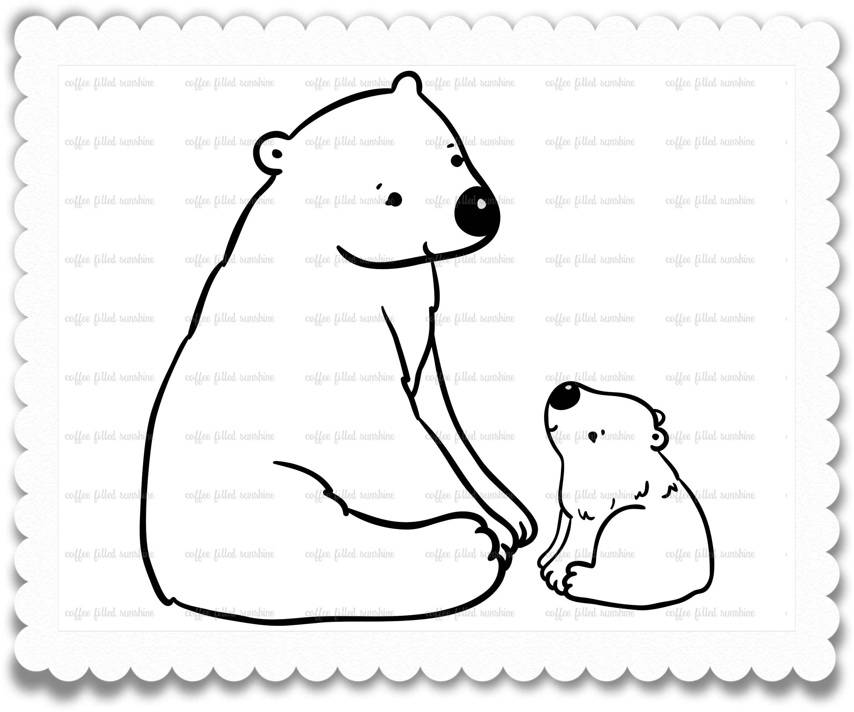 Digital Polar Bear Clip Art Mama And Baby Momma Polar
